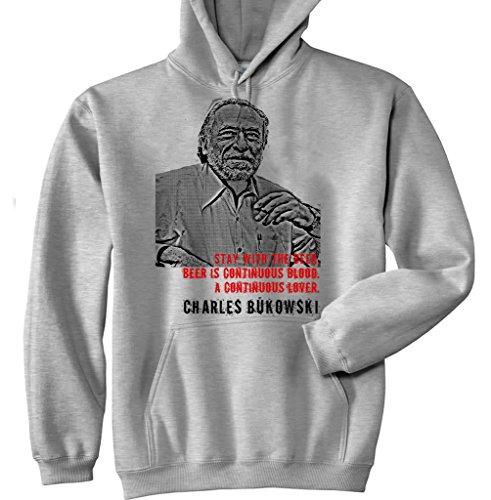 Teesquare1st Men's CHARLES BUKOWSKI BEER QUOTE P New Grey Cotton Hoodie Size Medium