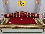 Bright Cotton Diwan Set Embroidery Patchwork Cotton Camel Design Maroon Red Divan Set DIVAN105-1