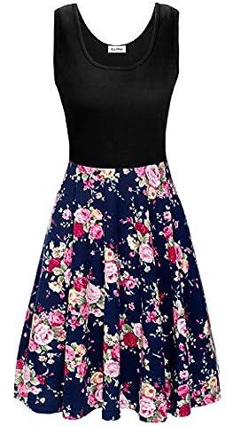 KorMei Damen Ärmelloses Beiläufiges Strandkleid Sommerkleid Tank Kleid Ausgestelltes Trägerkleid Blau Rose Blume L