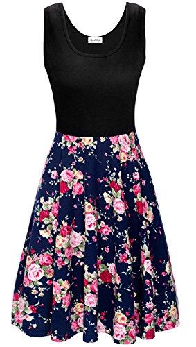 KorMei Damen Ärmelloses Beiläufiges Strandkleid Sommerkleid Tank Kleid Ausgestelltes Trägerkleid Blau Rose Blume XL Rosen-sommer-kleid