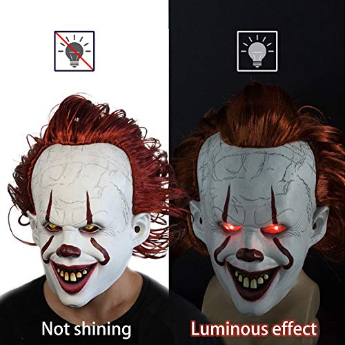 Pennywise Kostüm Nur - inshias Halloween Clownsmaske Pennywise Maske Latex LED Leucht Cosplay Maske Geeignet für Erwachsene Oder Kinder Ab 6 Jahren Halloween Kostüm Creepy Party Horror Requisiten