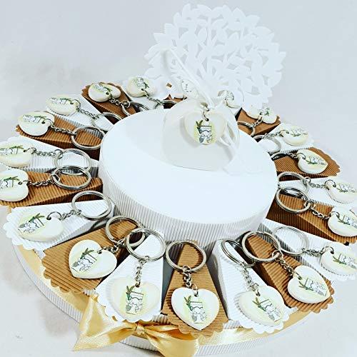 Bomboniere comunione ecomomiche originali torta porta confetti portachiavi cuore calice (torta 20 fette calice portachiavi)