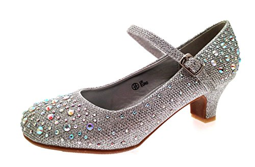 83e62aec8120 Lora Dora Girls Mary Jane Glitter Party Shoes Silver