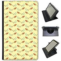 Arancione Giallo Diamanti e foglie custodia a libro in finta pelle con funzione di supporto per tablet Kobo nero Delicate Flower & Leaves Kobo Aura H20 Waterproof