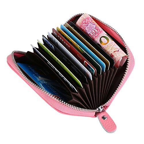 Mcvilla Leder Scheckkartenetui Kreditkartenetui Visitenkartenetui Geldbeutel Minibörse RFID-Blocking Damen und Herren (Gelb) Rosa