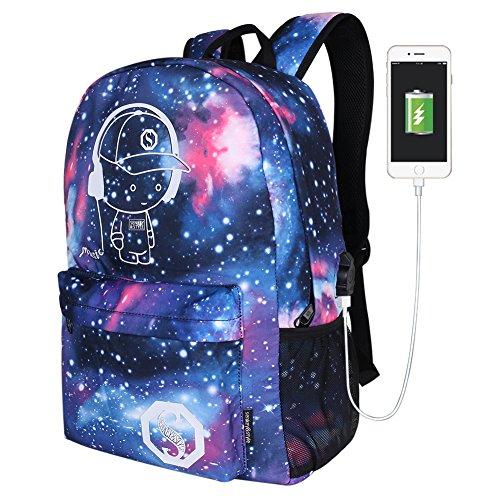 USB zaino moda luminoso, borsa a tracolla di nylon Nightlight cartella unisex scuola borsa zaino da viaggio (blu stellato), USB Star Blue Music Kid