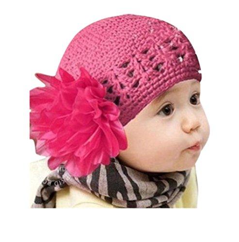 LuckyGirls Wolle Mütze Strick Blume Kleinkinder Baby Mädchen Haarband Stirnband Headwear Hut (Rose Rot) (Rote Gefütterte Jersey-handschuh)