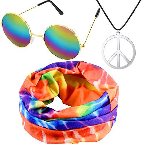 Stirnband Kostüm - meekoo Hippie Kostüm Set, Einschließen Hippie Stirnband, Frieden Zeichen Halskette und Hippie Stil Brille für 60 und 70 Jahre Thema Partys oder Halloween (Farbe Set 1)