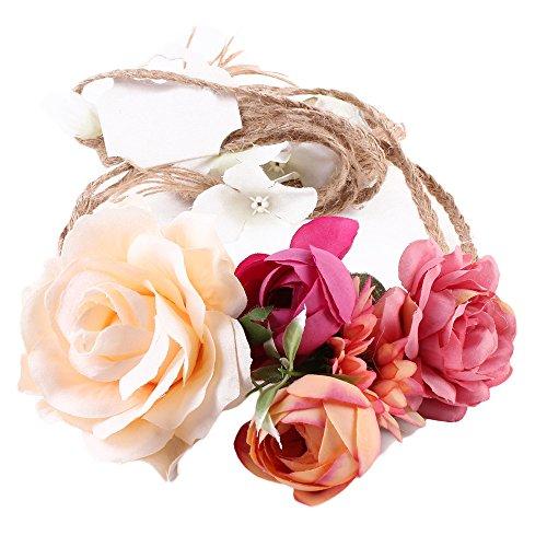 Haarbands,Sasstaids Frauen Weben lange handgemachte Blume Hairband Crown Hochzeit Kranz Braut Kopfschmuck