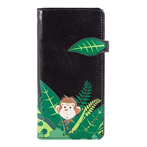 Shagwear portafoglio per giovani donne , Large Purse : Diversi colori e design: scimmia nera/ Swinging Monkey