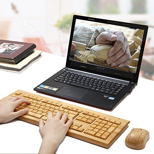 kabellose Bambus Tastatur und Maus - 3