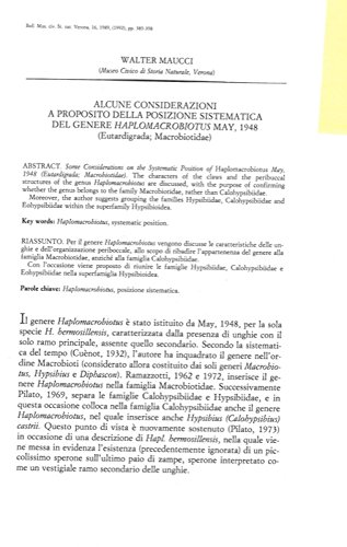 Alcune considerazioni a proposito della posizione sistematica del genere Haplomacrobiotus may, 1948 (Eutardigrada; macrobiotidae) .