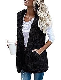Sonnena Chaleco de invierno cálido, sudadera con capucha, pelo sintético, chaqueta sherpa con cremallera negro negro l