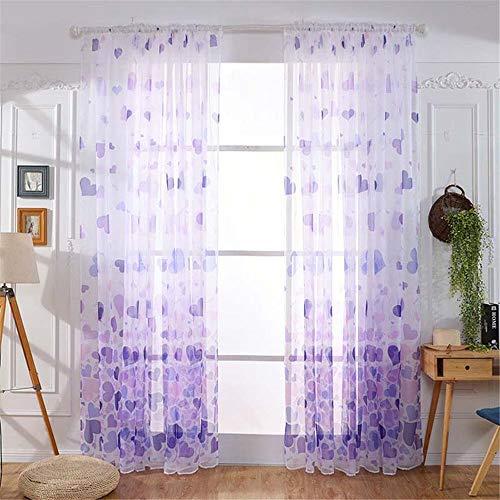 NIBESSER Vorhänge Transparent Schlaufenschal Gardinen Dekoschal Voile für Schlafzimmer Wohnzimmer Schmetterling 100×200cm (lila 2 Stück)