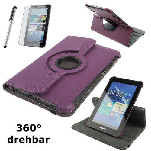gada - Handyhülle für Samsung Galaxy Tab 2 Tab2 II 7.0 360° Drehbar und Standfunktion in edlem lila / violett - Hülle Flip Schutzhülle Tabletcase Leder-Imitat Tasche Leder-Imitat Tasche Case Etui Cover ( P3110 / P3100 / P3113 ) - inkl. kostenloser Displayschutzfolie und Touch-Stift Touchpen