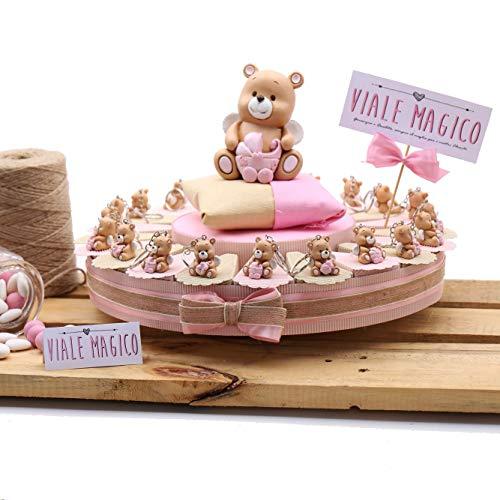 Vialemagico torte bomboniere nascita orsetto con ali bimba portachiavi con confetti 20 fettine