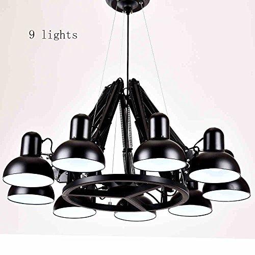 FUFU Plafonniers Lampe suspendue Lustre 3 lumières / 6 lumières / 9lights / 12 lumières / 16 lumières Lustre industriel d'araignée avec télécommande Lampe peut s'étirer (5 couleurs) Y compris les ampoules ( Couleur : Noir , taille : 9lights )