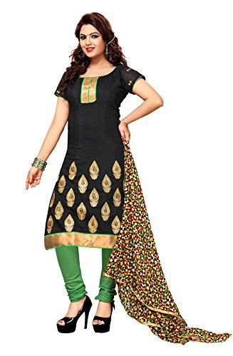 Khushali Fashion Women's Chiffon/Cotton Unstitched Salwar Suit (SSKV23002_N/A_Black)  available at amazon for Rs.844