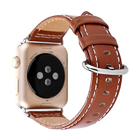 Lederband Ersatzband für Apple Watch 38MM, CICIYONER Classic Daily Armband Uhrenarmband (braun, Apple Watch 38mm)