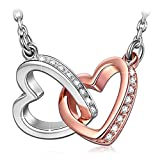 ANGEL NINA Women Jewellery Love At First Sight Entwined Heart Allergen-free 925 Sterling Silver Sparkling AAA Cubic Zirconia Pendant Rose Gold Plated Necklace for Her Girlfriend Wife Mum Girls Ladies