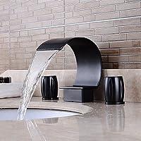 BSFCJ Lavandino rubinetto del bagno,Rubinetto di tipo separato olio strofinato bronzo bagno lusso cascata caldo (Fusioni Freddo Bronzo)