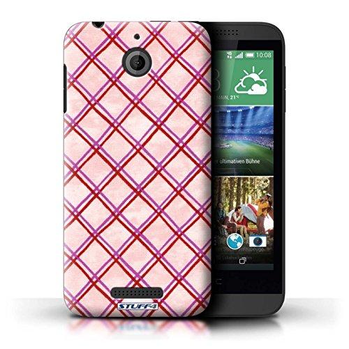 Kobalt® Imprimé Etui / Coque pour HTC Desire 510 / Jaune conception / Série Motif Entrecroisé Rose/Rouge