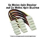 Alimentatore di rete per PC, cavo di alimentazione Y interno Molex, 1 x 4 spine su 2 prese Molex a 4 spine. 5 Stck