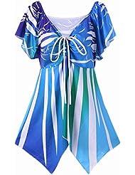 Mariposa de Las Mujeres - Impresión de Tipo Larga Camiseta , Azul , 4Xl