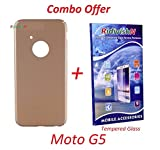 RidivishN MOTO G5 / Moto G5 All Sides Protection '360 Degree' Sleek Rubberised Matte Hard Case Back Cover- - - Gold (Combo Pack) (Not Compatible for MOTO G5 PLUS)