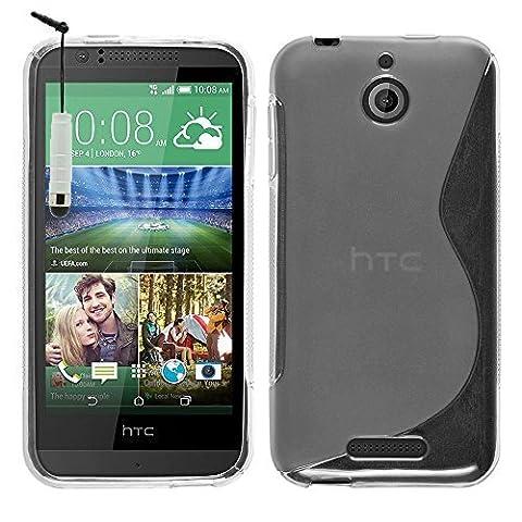 HTC Desire 510 Étui HCN PHONE® S-Line TPU Gel Silicone Coque souple pour HTC Desire 510 + mini stylet - TRANSPARENT