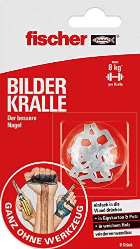 fischer BILDER KRALLE - Wandhaken als alternative für den Nagel und die Schraube - Einfach festdrücken, anhängen, fertig, weiß - 8 Stück - Art.-Nr. 545953