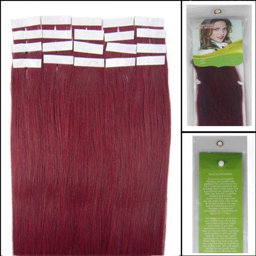 40,6 cm Bandes adhésives Extensions de cheveux humains droite Couleur Bug 30 g 20 pièces Beauté Cheveux Style
