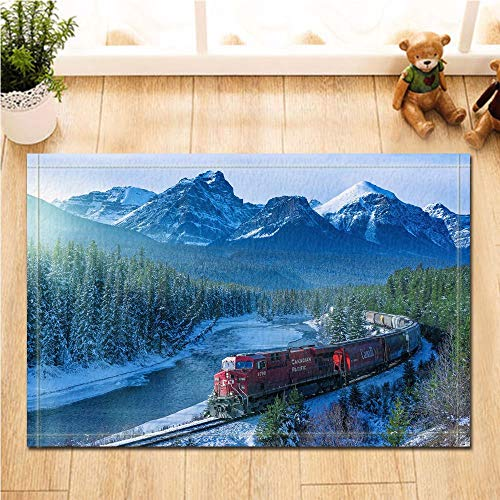 fdswdfg221 Steam Engine Decor Red Train on The Plateau Against Snow Mountain and Forest Bath Rugs Non-Slip Doormat Floor Entryways Indoor Front Door Mat Kids Bath Mat Bathroom -