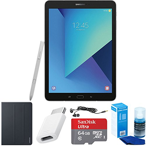 Samsung Galaxy Tab S3 9.7 Inch Tablet with S Pen - Silver - Book Cover Accessory Bundle includes 64GB MicroSDXC High-Speed Memory Card, USB-C Adapter, Tablet Book Cover, Screen Cleaner and Earbuds