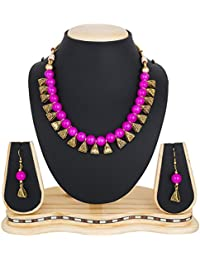The Luxor Traditional Gold Plated Jewellery Choker Pearl Necklace Set For Women