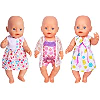 Ebuddy doll Clothes 3 Sets Dress Bikini for most 14-16 inch New Born Baby Dolls,Alive Doll,18 inch American Girl and Our Genration