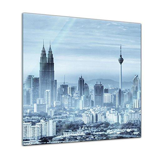 Glasbild - Kuala Lumpur - Malaysia - 50x50 cm - Deko Glas - Wandbild aus Glas - Bild auf Glas - Moderne Glasbilder - Glasfoto - Echtglas - kein Acryl - Handmade