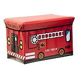SQ Professional Enfants Siège Ottoman Pliable Boîte à Jouets en Petite ou Grande Taille, Camion de Pompier, Taille L
