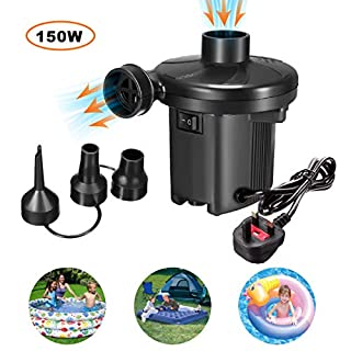 GOCHANGE Electric Pumps, Inflatable Deflatable Air Pump with 3 Nozzles, 220-240V/150W Quick Fill Electric Pump for Inflatable Sofa, Air Raft Mattress, Air Boat, Swimming Ring, Pool Toys, Camping Sport