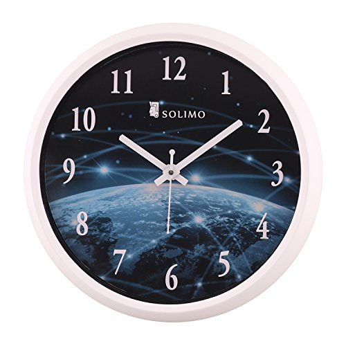 Amazon Brand - Solimo 12-inch Wall Clock - Galaxy (Step Movement, White...