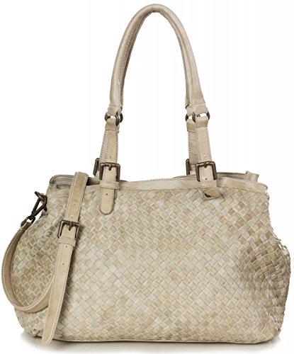 Italienische XL Flecht Schultertasche für Damen - Tasche aus weichem Nappa Leder im Vintage-Style (45 x 28 x 16 cm), Farben:Braun (Schoko Braun) Beige
