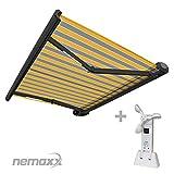 Nemaxx FCA35X Vollkassettenmarkise mit Licht- und Windsensor 3,5m x 2,5m gelb-grau: Kassettenmarkise für optimale Beschattung aus UV-beständigem und wetterfestem Acryltuch - Markise in grauer Kassette - nach DIN EN 13561