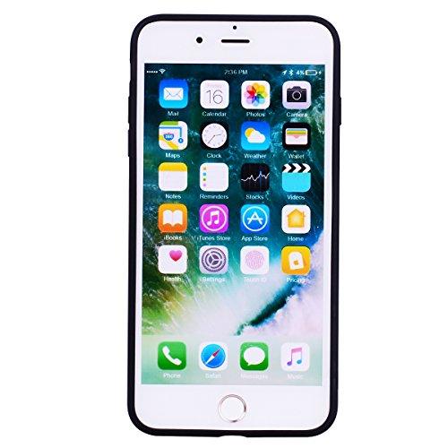 iphone 7 Plus Hülle, E-Lush TPU Silikon Handy Case Hülle für iphone 7 8 Plus Schön Einfarbig Jelly Weich Dünn Muster Weich Silikon Handyhülle Schale Schutzhülle Ultradünnen Etui Anti-stoß Kratzfeste C schwarz