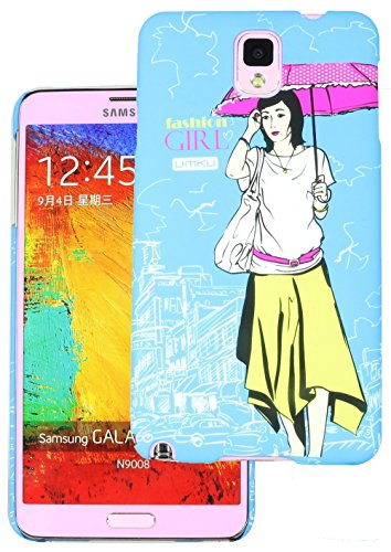 Heartly Cute Girl Printed Design High Quality Hybrid Tough Armor Hard Bumper Back Case Cover For Samsung Galaxy Note 3 N9000 N9005 - Dark Blue  available at amazon for Rs.199