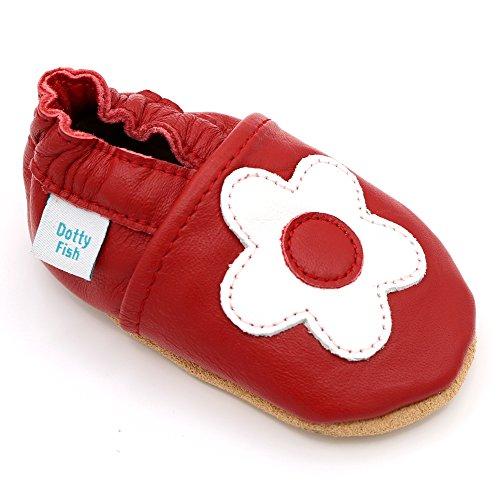Dotty Fish Weiche Lederschuhe für Babys und Kleinkinder von Rutschfeste Wildledersohle. Rot mit Weißer Blume. 12-18 Monate (Leder-schuhe Blumen Weiche)