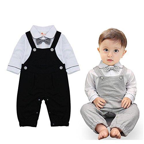 Baby Jungen Strampler Jumpsuit Smoking Gentleman Anzug Langarm Outfits Sommer Kleidung Spielanzug Taufkleidung mit Fliege (Grau, 70/3-6 Monate)