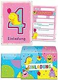 JuNa-Experten 12 Einladungskarten incl. 12 Umschläge zum 4. Kindergeburtstag rosa / schöne Einladungen zum Geburtstag für Mädchen lustige Monster