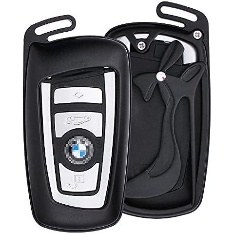 [M. JVisun] auto keyless entry Cover con scarpa con tacco alto portachiavi pelle per BMW Serie 123/456GT Serie X3, X4, M2, M3, M4, M5, M6, in alluminio guscio protettivo in vera pelle con portachiavi, Black - 1 De Icer