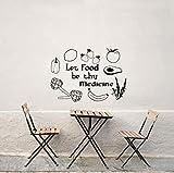Ponana Diy Schwarz Vinyl Aufkleber Zitieren Lassen Lebensmittel Sein Medizin Wandtattoo Obst Und Gemüse Wandaufkleber Für Küche Restaurant 56X78 Cm