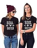 Best Friends T-Shirts Für 2 Mädchen Sister T-Shirt BFF Oberteile Freunde Tops Damen Schwarz Weiß BFF Geschenke 2 Stücke
